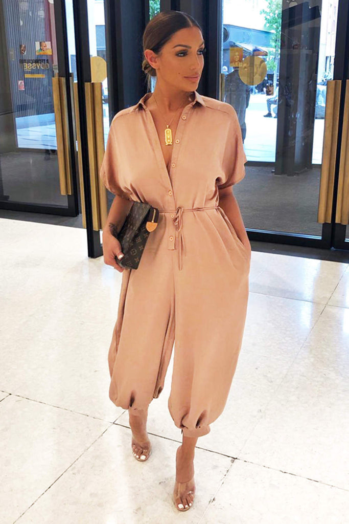 Mocha Button Up Jumpsuit