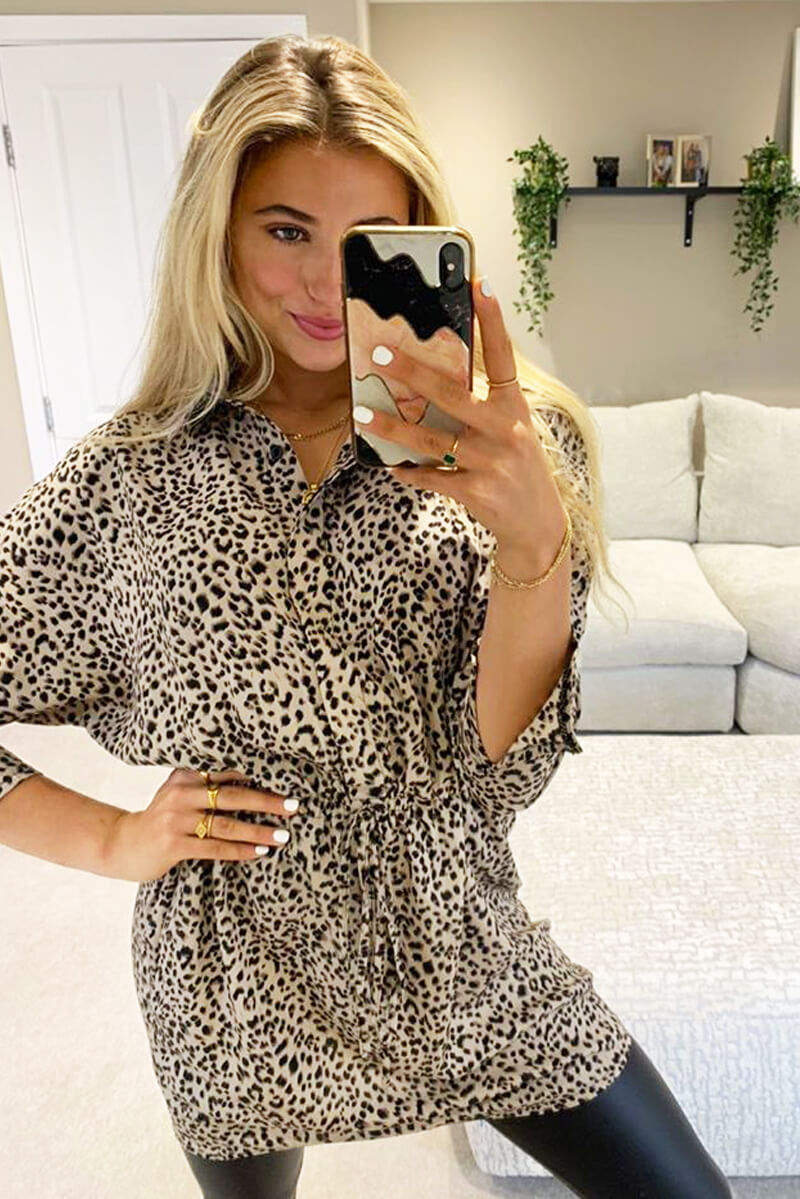 Multi Animal Print Shirt Dress