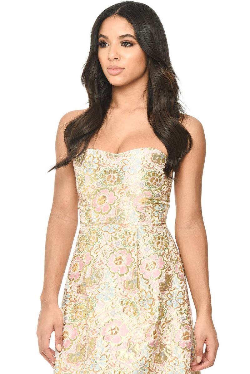 Multi Colored Sleeveless Dress With Gold Floral Pattern