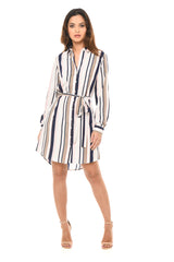 Multi Coloured Pinstripe Shirt Dress
