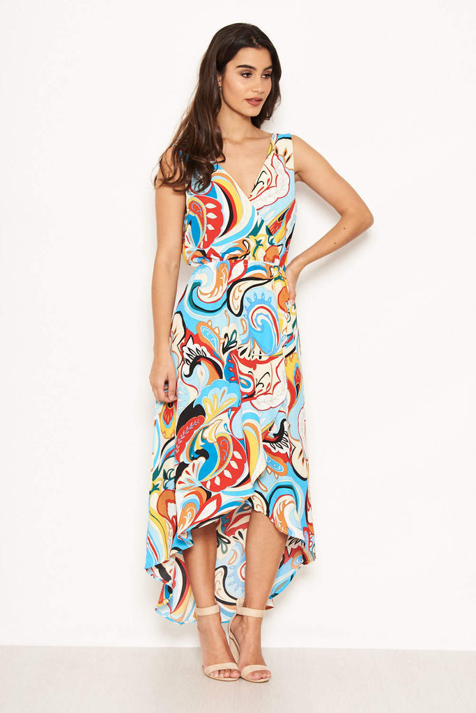 Multi Print Frill Maxi Dress
