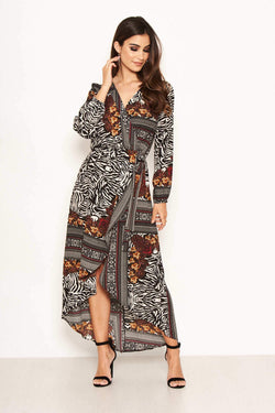 Multi Print Wrap Maxi Dress