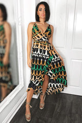 Green Abstract Printed Maxi Dress