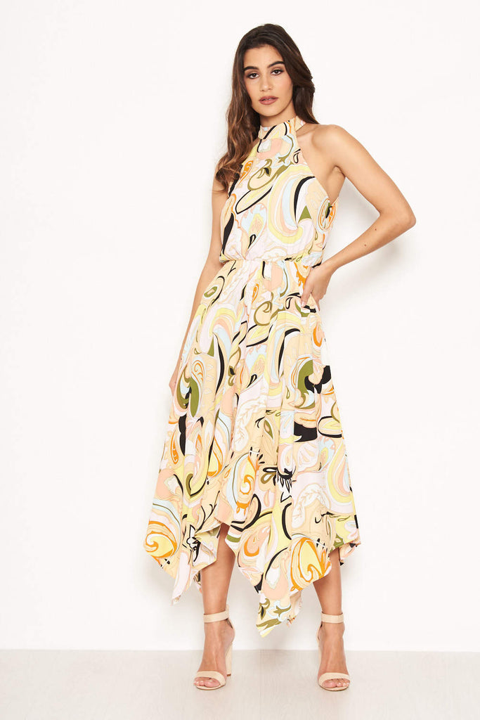 Multi Printed Halterneck Midi Dress