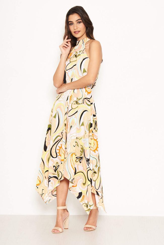 a4fcb7e4c180f Multi Printed Halterneck Midi Dress