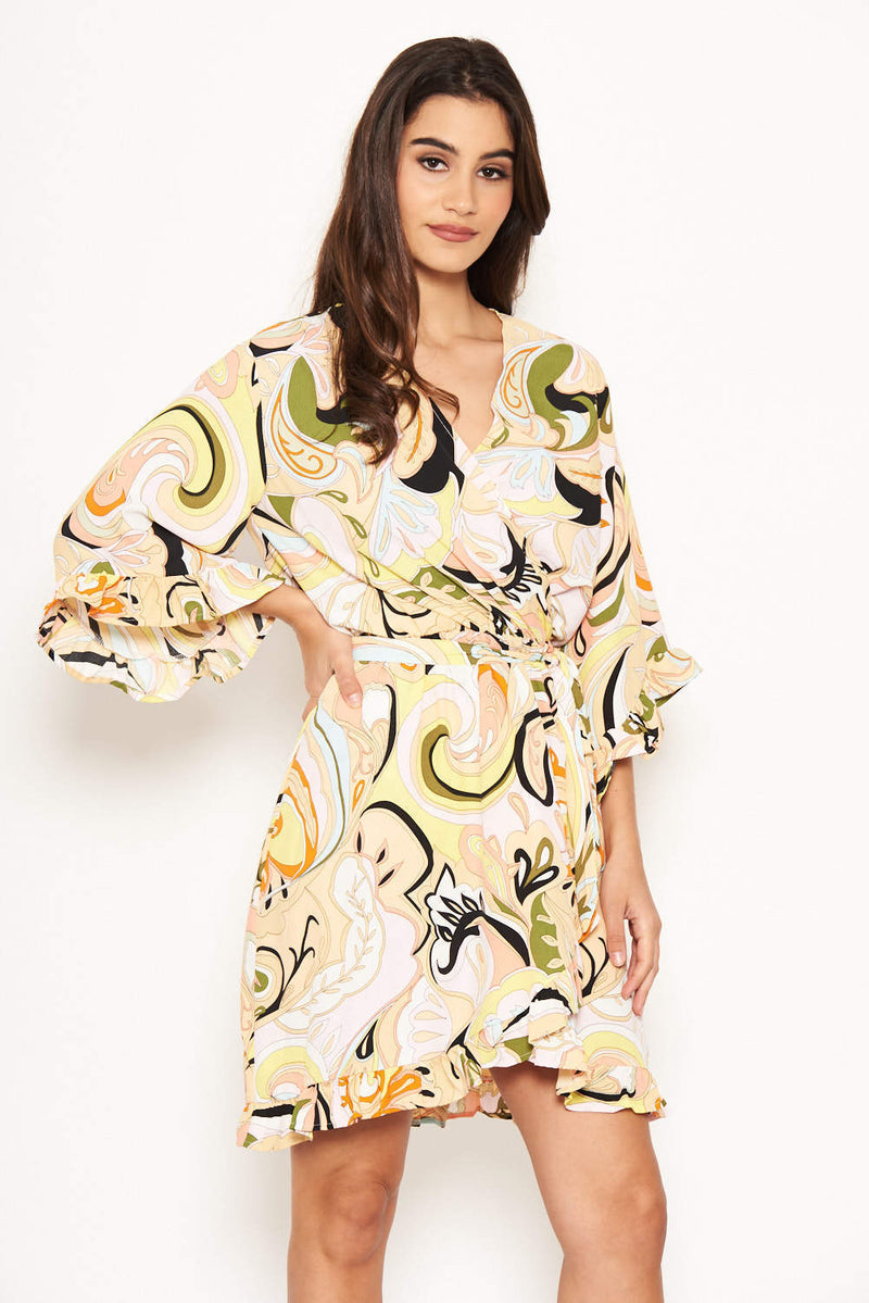 Multi Printed Wrap Over Dress
