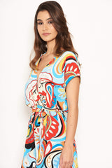 Multi Printed Wrap Playsuit