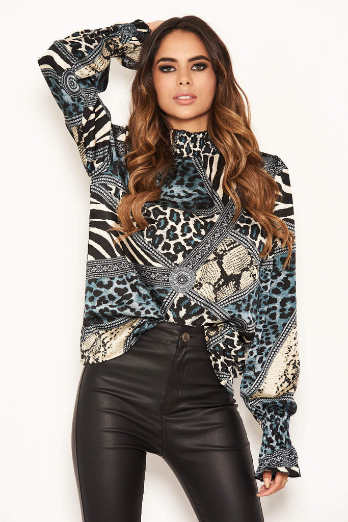 Multi Print Frill High Neck Top