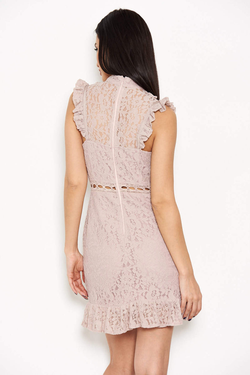 Mushroom Lace Frill Detail Dress