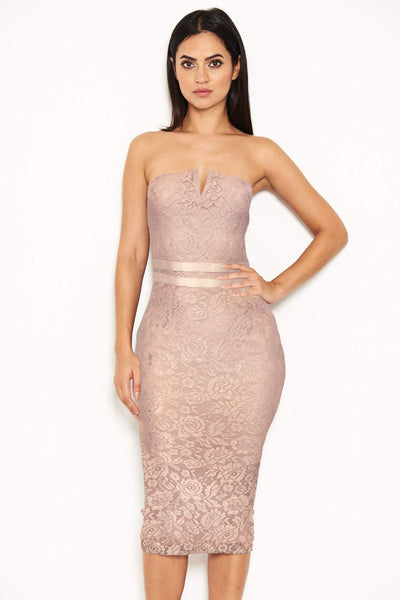 Mushroom Lace Notch Front Midi Dress