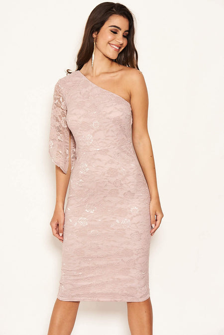 Mushroom V Neck Lace Ruched Tie Detailed Dress