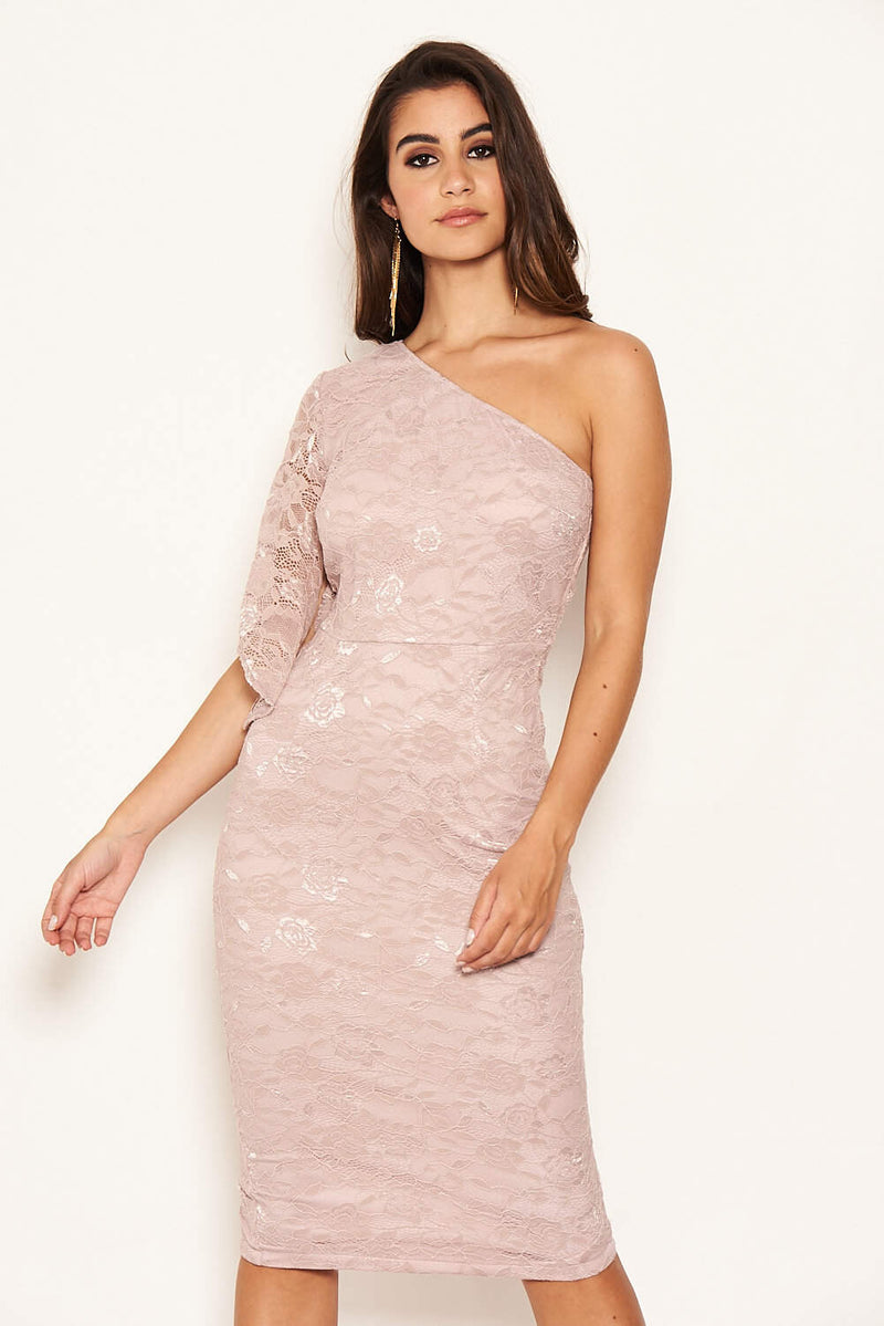 Mushroom Lace One Shoulder Midi Dress