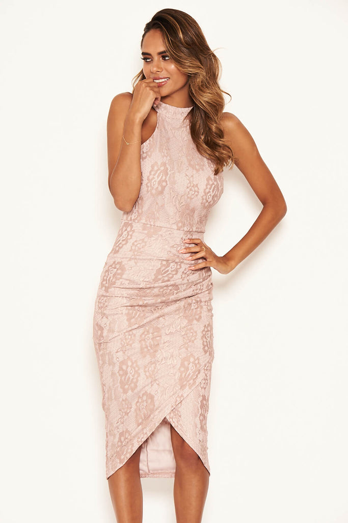 Mushroom Lace Wrap Dress