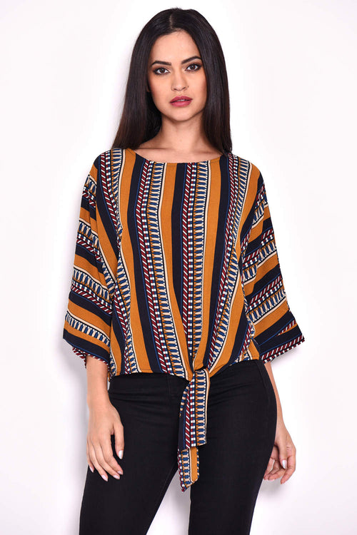 Mustard Aztec-Print Wide-Sleeve Top