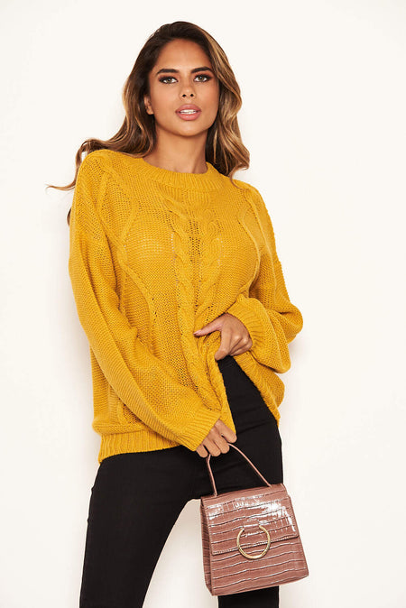Camel Cable Knit Oversized Jumper