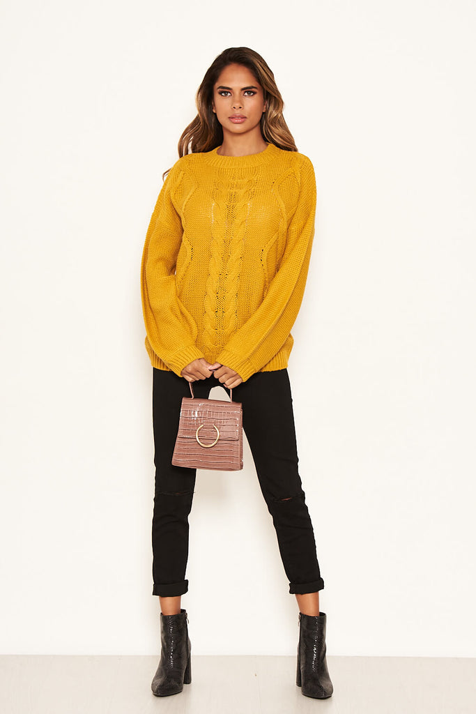 Mustard Cable Knitted High Neck Jumper