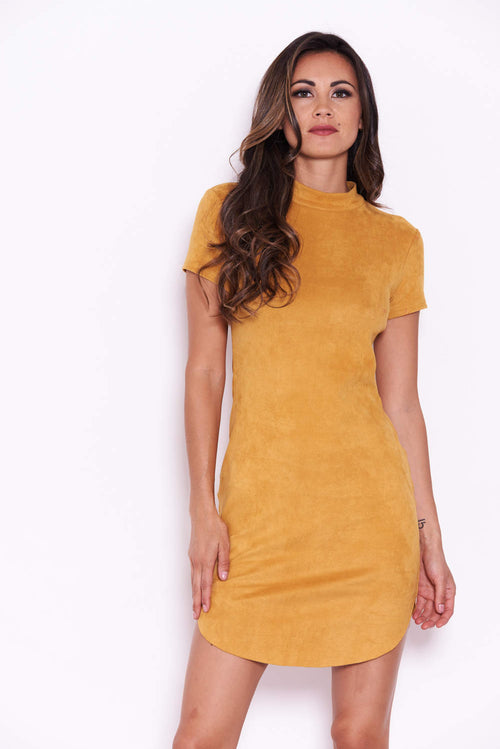 Mustard Faux Suede Mini Dress with High Neck