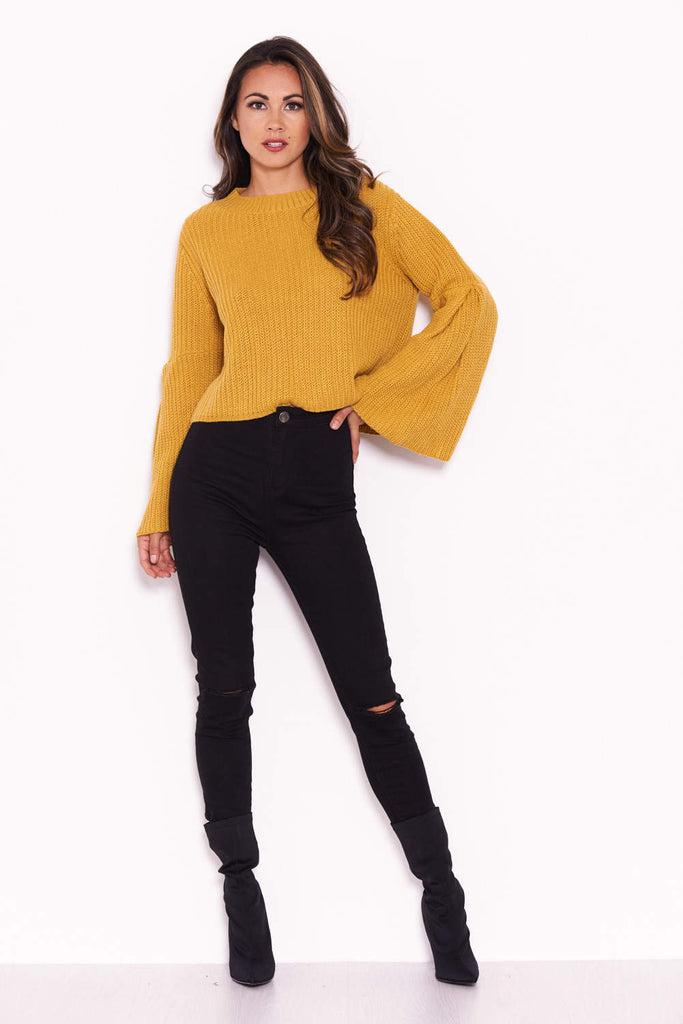 Mustard Flare Sleeve Knitted Jumper