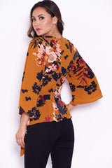 Mustard Floral Flared Sleeve Top