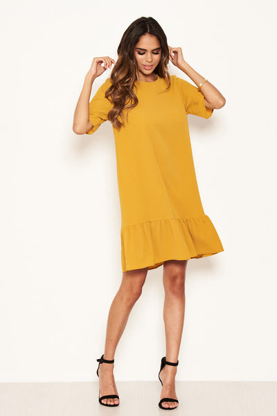 Mustard Frill Hem Shift Dress