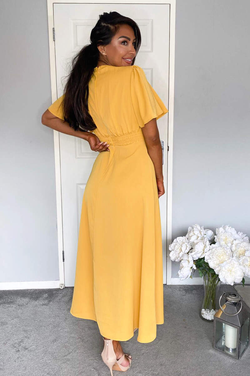 Mustard Gathered Waist Midi Dress