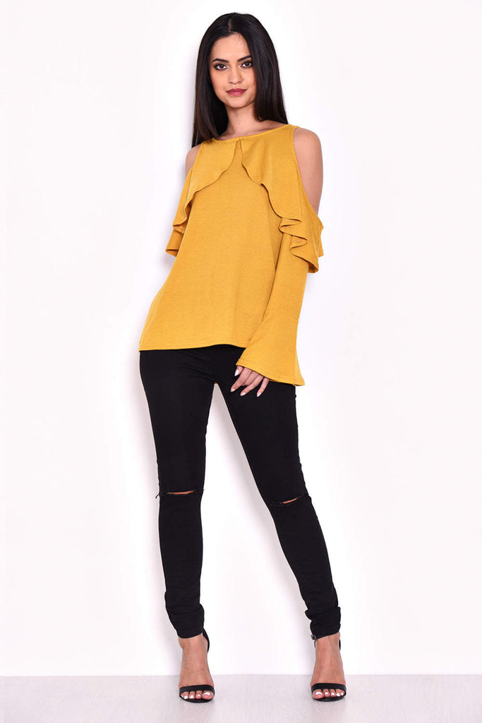 Mustard Knitted Cold Shoulder Top