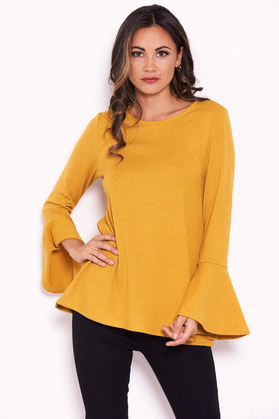 Mustard Knitted Top With Frill Detailed Sleeves