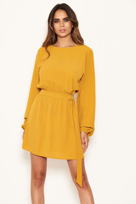 Duck Egg Cold Shoulder Frill Detail Split Dress