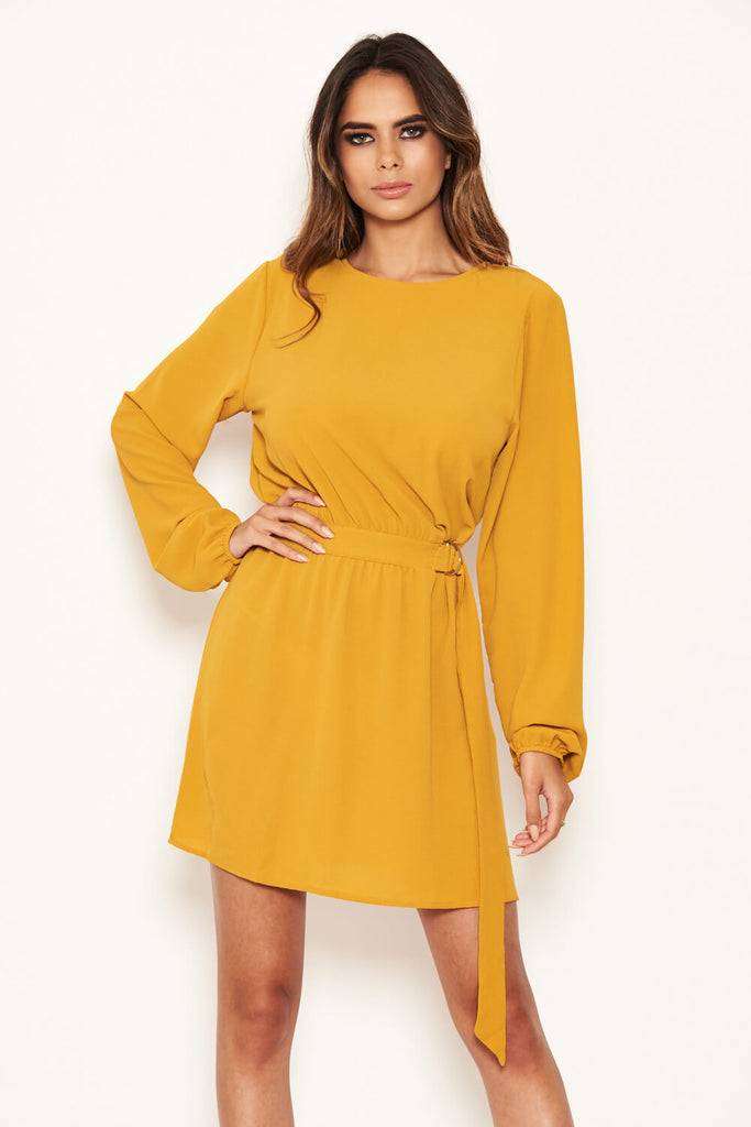 Mustard Long Sleeve Belted Day Dress