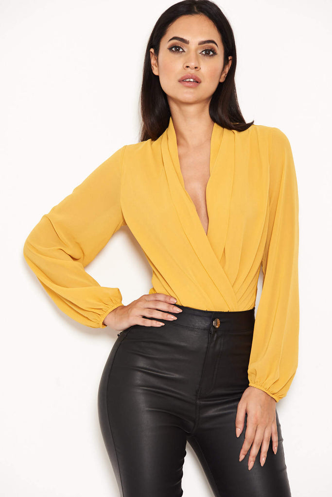 Mustard Mesh Detail Sleeved Bodysuit