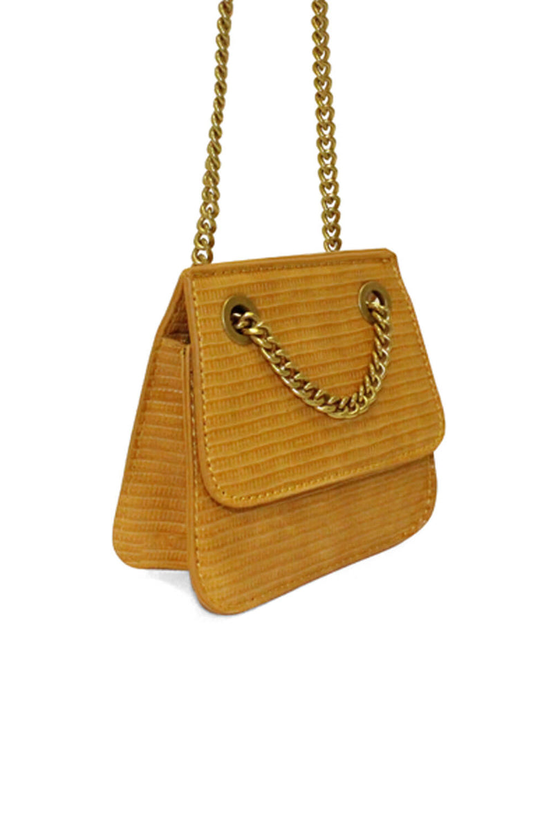 Mustard Mini Textured Chain Strap Bag
