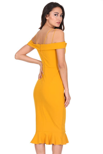 Mustard Off The Shoulder Strappy Fishtail Dress