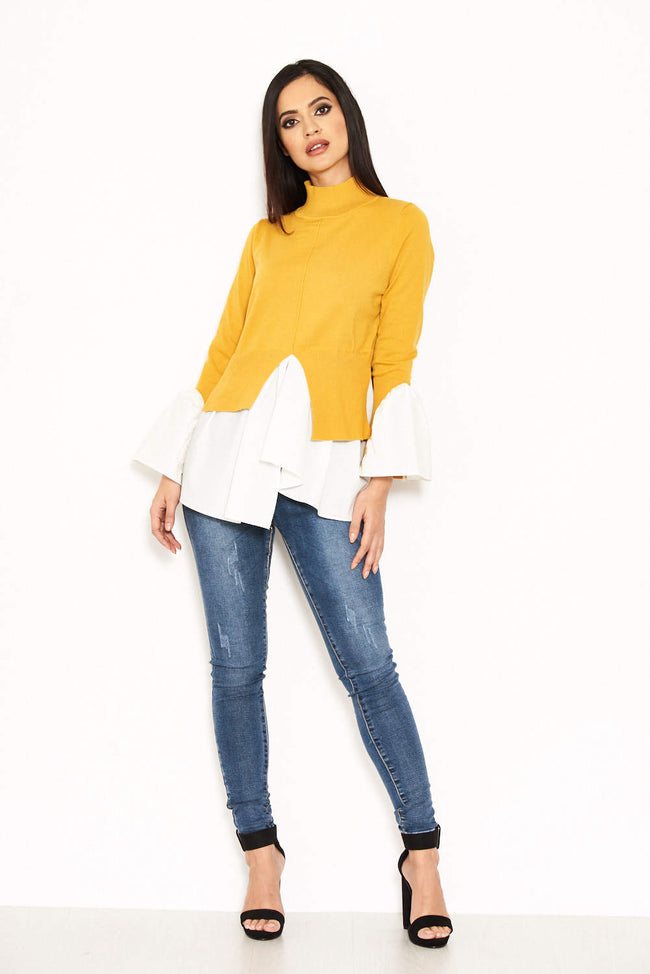 Mustard Polo Neck Shirt Jumper