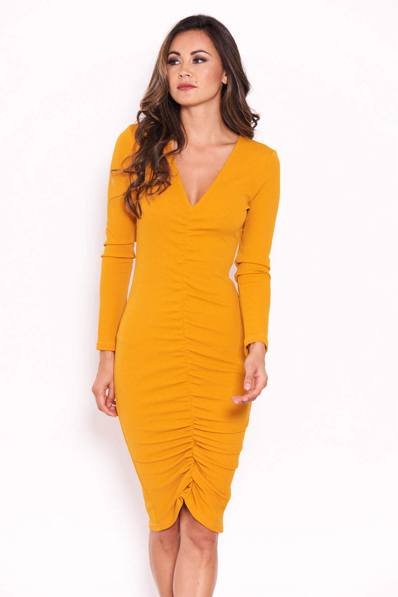 Mustard Ruched Sleeved Dress