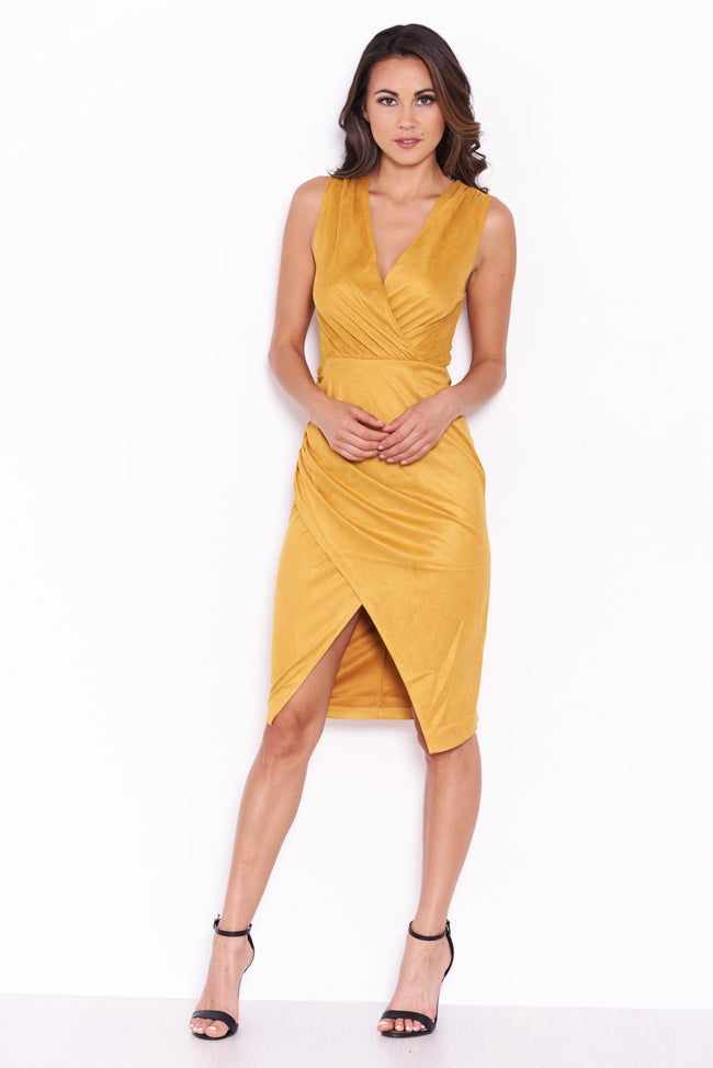 Mustard Suede V Neck Wrap Dress