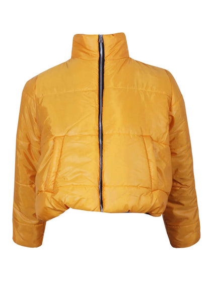Mustard Wet Look Puffer Jacket