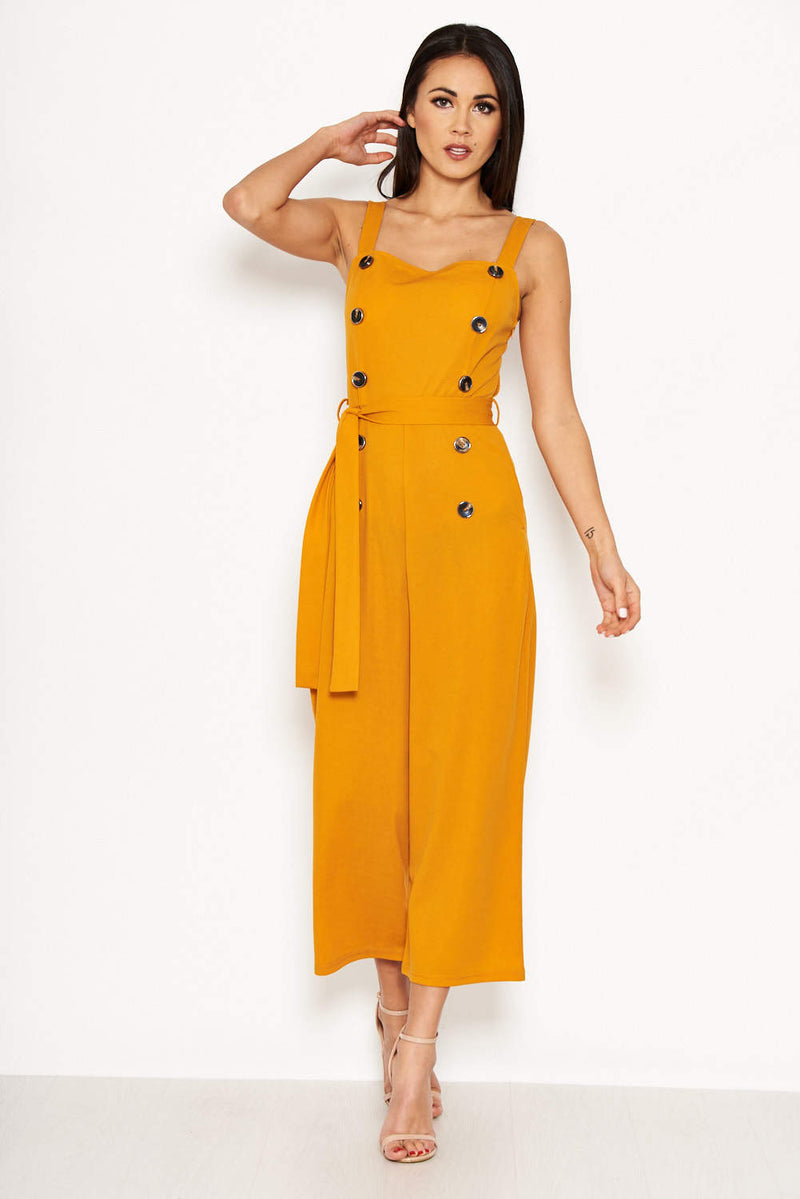 Mustard Button Front Detail Jumpsuit