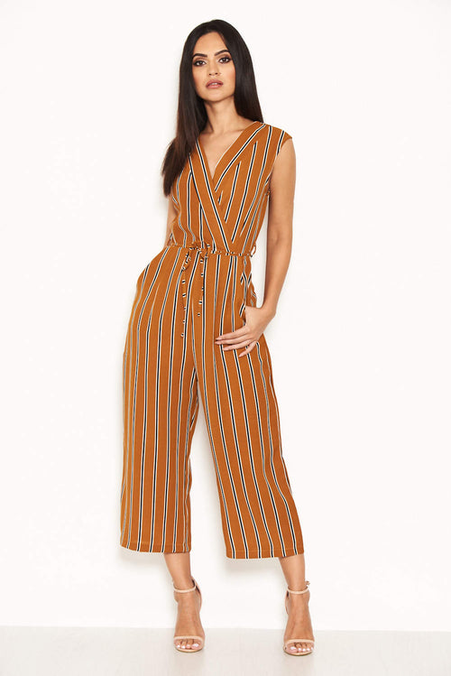 Mustard Stripe Culotte Jumpsuit With V Neck