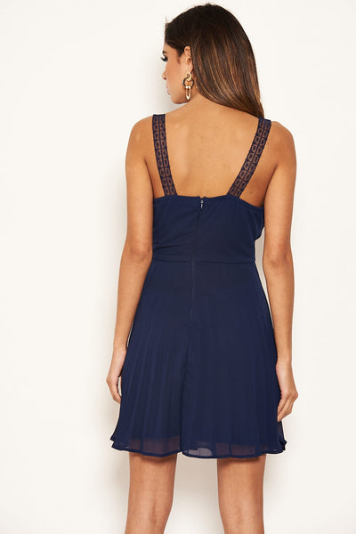 Navy V Neck Pleated Mini Dress