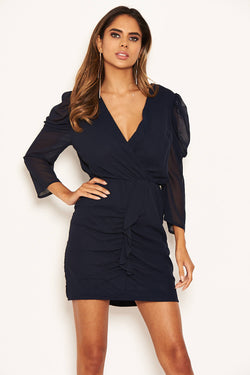 Navy Chiffon Frill Front Dress