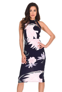 Navy Floral Mesh Detail Bodycon Midi Dress