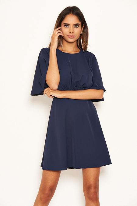 Plum Wrap Frill Detail Dress