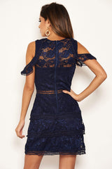 Navy Lace Frill Cold Shoulder Dress