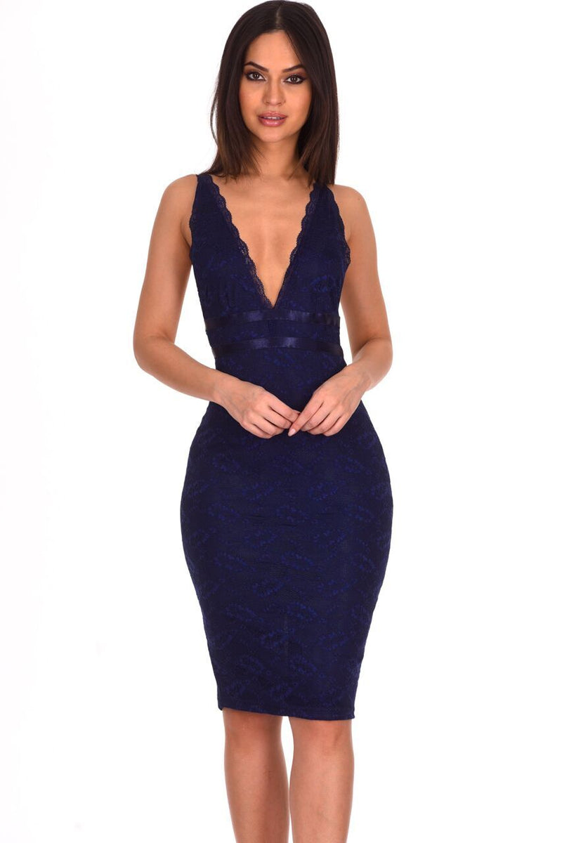 Navy Lace V Neckline Bodycon Dress