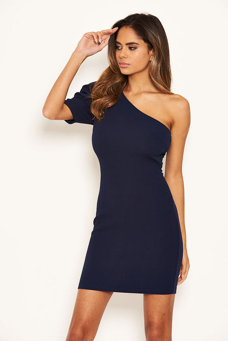 Navy Cross Over Back Dress
