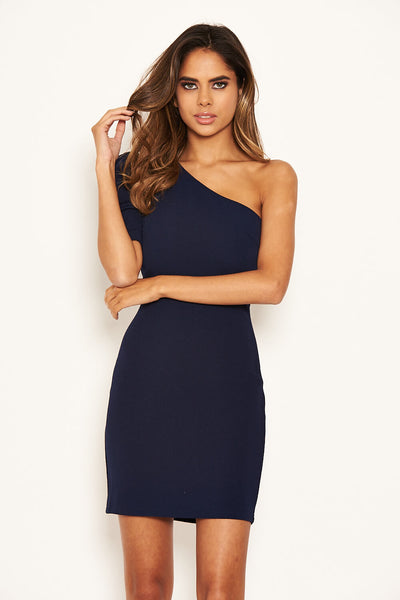 Navy One Shoulder Bodycon Dress