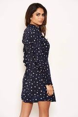 Navy Polka Dot High Neck Dress