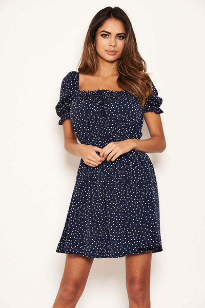 Navy Polka Dot Square Neck Swing Dress