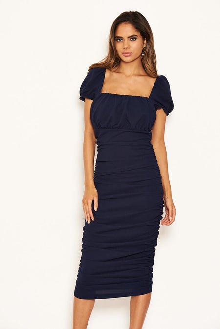 Navy Tie Waist Midi Dress