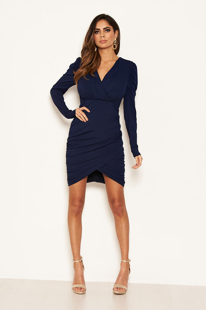 Navy Long Puff Sleeved Ruched Wrap Dress